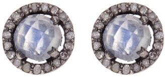 ADORNIA Sterling Silver Echo Moonstone & Champagne Diamond Halo Stud Earrings