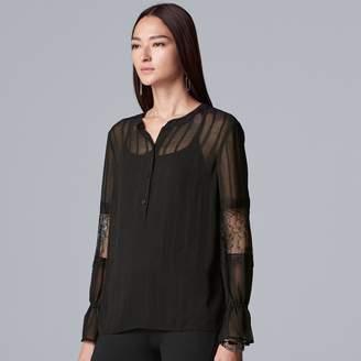 Vera Wang Petite Simply Vera Lace-Inset Sheer Blouse