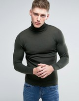 Lindbergh Sweater With Roll Neck In Khaki Merino Wool