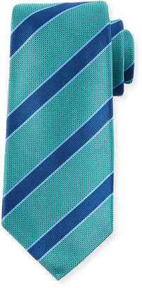 Kiton Men's Textured Framed Stripe Tie