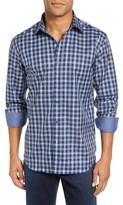 Bugatchi Men's Trim Fit Ombre Plaid Sport Shirt