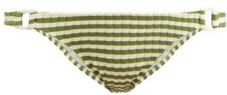 Solid & Striped The Tilda Ribbed-knit Bikini Briefs - Womens - Green Stripe
