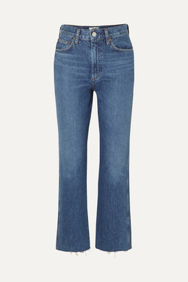 A Gold E Agolde AGOLDE - Pinch Waist Cropped Organic High-rise Flared Jeans - Mid denim