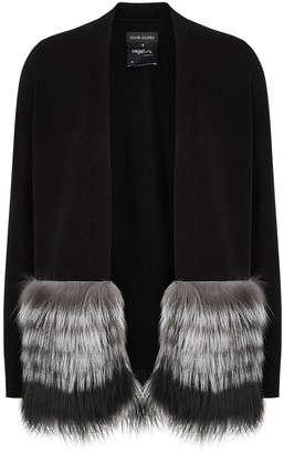 Izaak Azanei Black Fur-trimmed Wool And Cashmere-blend Cardigan
