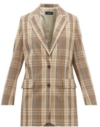 Joseph Madras-check Double-breasted Canvas Jacket - Womens - Beige Multi