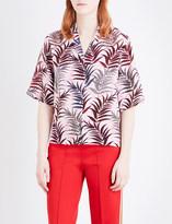 Sandro Palm-print silk blouse
