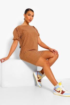 boohoo Polka Dot Puff Sleeve Shift Dress