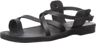 Jerusalem Sandals The Good Shepherd - Leather Buckle Sandal - Mens Sandals Black