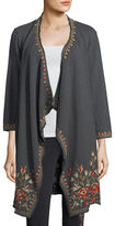 Johnny Was Eleanor French Terry Embroidered Cardigan, Plus Size
