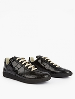 Maison Margiela Black Cracked Leather Replica Sneakers