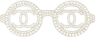 Chanel Pre Owned 2017 Rhinestone Glasses Motif Brooch