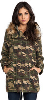 Capulet Military Parka with Faux Fur Trim