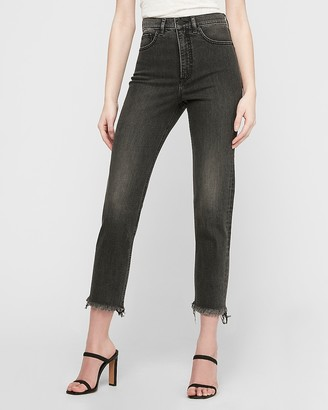 Express Super High Waisted Original Black Frayed Hem Mom Jeans