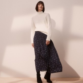 The White Company Harvest Floral Print Pleated Skirt, Navy, 6
