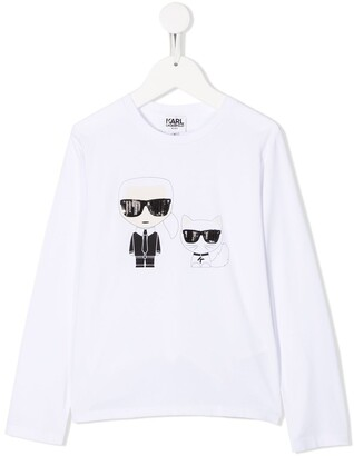 Karl Lagerfeld Paris cat print long-sleeve T-shirt