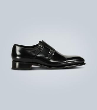 Santoni Double monk-strap leather shoes