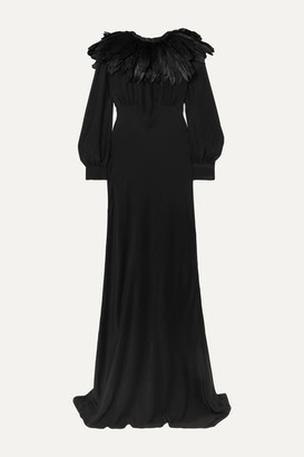Olivia von Halle + Maleficent Angelina Faux Feather-trimmed Silk Crepe De Chine Gown - Black