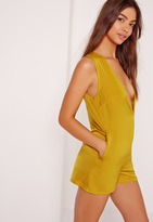 Missguided Silky Sleeveless Plunge Romper Chartreuse Green