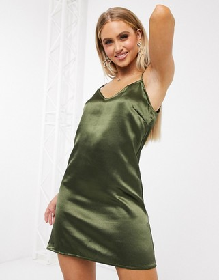 Parisian satin cami slip dresss in khaki