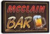 AdvPro Canvas scw3-000688 MCCLAIN Name Home Bar Beer Mugs Stretched Canvas Print Sign