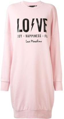 Love Moschino Slogan Print Sweatshirt Dress