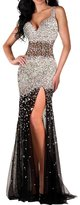 Audrey Bride Luxury Evening Bridesmaid Dress Prom Gowns Rhinestone - US