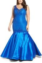 Mac Duggal Plus Size Women's Taffeta Mermaid Gown