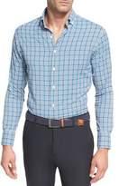 Peter Millar Crown Sport Crispy Check Performance Shirt, Dark Blue