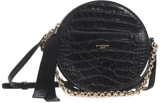 Givenchy Eden Croc-Embossed Leather Circle Crossbody Bag