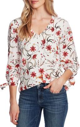CeCe Marrakesh Ink Floral Tie Sleeve Blouse