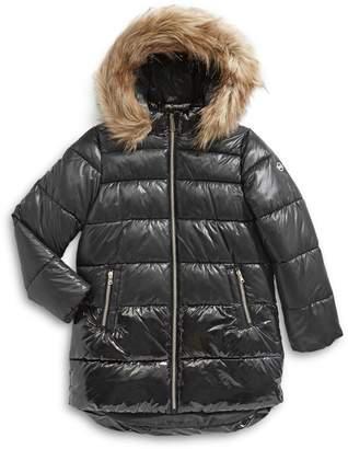MICHAEL Michael Kors Girl's Faux Fur-Trim Puffer Jacket