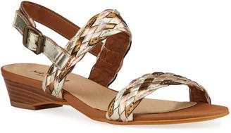 Sesto Meucci Glen Woven Metallic Leather Two-Band Sandals