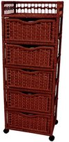 Oriental Furniture Rich Beautiful Color Lingerie Chest Design, 46-Inch Natural Fiber Chest of Drawers on Wheels