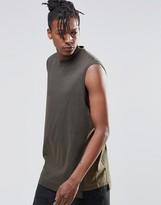 Asos Oversized Sleeveless T-shirt With Contrast Panels In Khaki