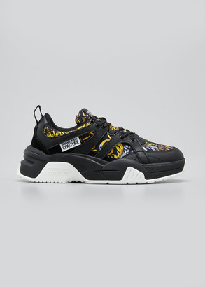 Versace Men's Barocco-Print Mix-Media Chunky Sneakers