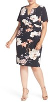 Adrianna Papell Plus Size Women's Side Pleat Floral Print Sheath Dress