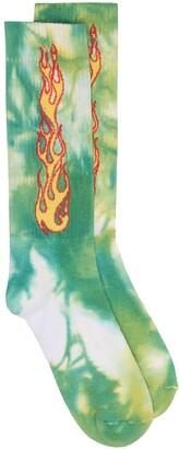 Palm Angels Tie-Dye Jacquard Flame Socks