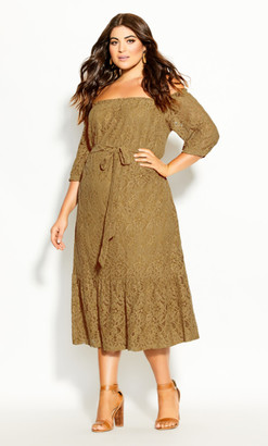 City Chic Time Lace Dress - whisky