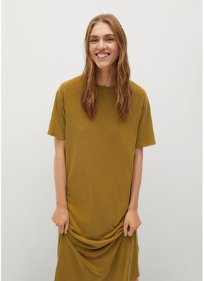 MANGO Jersey Midi Dress - Yellow