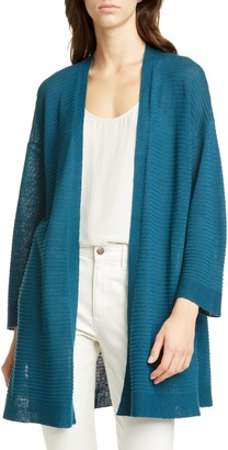 Eileen Fisher Organic Cotton & Linen Blend Open Front Cardigan