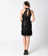 Minuet Vintage Style Black Sequin & Feather Sleeveless Halter Short Flapper Dress