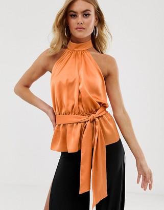 Asos Design DESIGN halter top with tie detail in satin-Tan