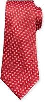 Canali Woven Micro-Daisy Silk Tie, Red