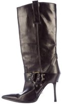 Manolo Blahnik Leather Mid-Calf Boots