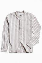 Urban Outfitters Vertical Stripe Band Collar Button-Down Shirt