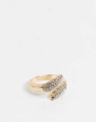Topshop cross over ring in gold pave