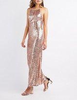 Charlotte Russe Sequin Bib Neck Maxi Dress