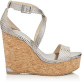 Jimmy Choo PORTIA 120 Optic White Pearlised Water Snake Cork Wedges