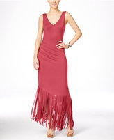INC International Concepts Petite Asymmetrical Fringe Maxi Dress, Only at Macy's