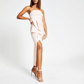 River Island Pink sleeveless ruffle bodycon maxi dress